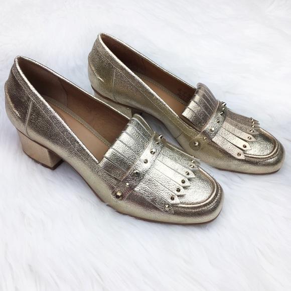 93022719b1b Franco Sarto Shoes - Franco Sarto Lauryn Gold Keltie Heeled Loafer